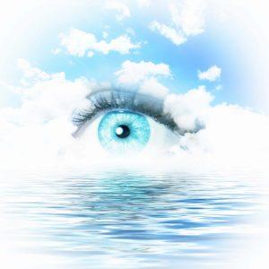 blue light eye over water